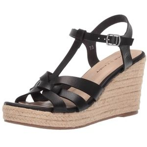 Rock & Candy Fola Espadrille Wedge Black Sandals